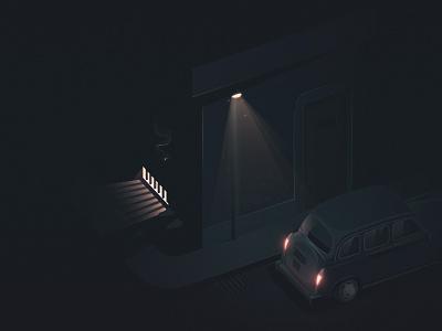 "Night Scene Part.2 nightscene night scene dark light home ""car at night illustration street night car"