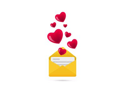 Hey Dribbble, I got some Love..! debue ui vector rebound couple sending envelope love valentines day valentines dribbble concept free