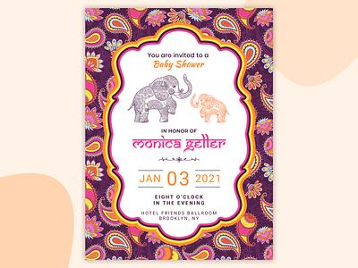 Baby Shower Invitation Card gender baby born elephant color illustration clean design ui debue dribbble concept free design invitation card invitation invite baby shower baby card