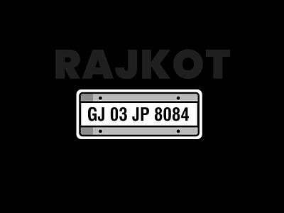 Rajkot Number Plate weekly challenge weekly warm-up vector design ux color illustration ui concept free debue india rajkot