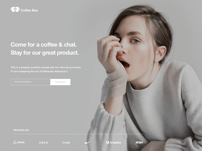 Coffee Bee Chat Landing Page freebie concept illustration dribbble debue landingpage landing website design web design website girl dating chat bot chat app chatting bee coffee