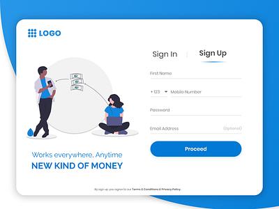Web sign up wallet transfer money app money sign in login registration signup ux illustration color dribbble design ui clean design debue concept free