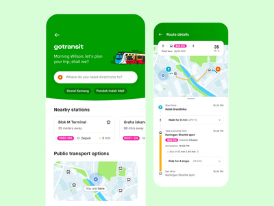 GoTransit - Gojek animation transport trip planner uidesign ui transportation gotransit gojek design design gojek