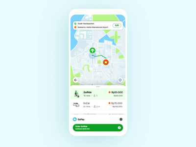 Finding Gojek Driver finding driver transportation ride hailing ui gojek design animation gojek