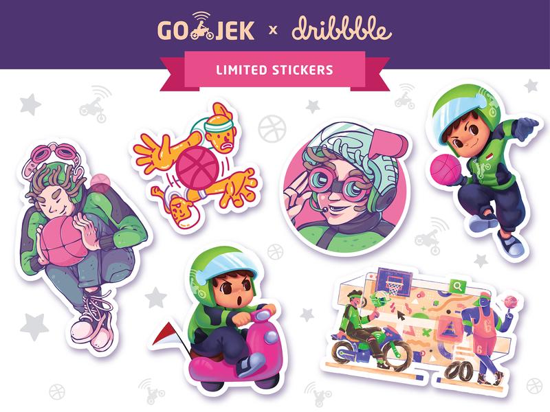 GO-JEK x Dribbble sticker pack dribbble meetup go-jek basketball dribbble sticker illustration