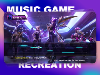Music entertainment game ui