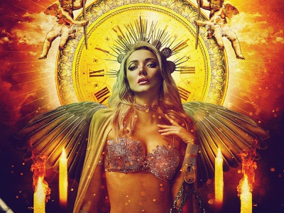 Lady Midnight composite manipulation digital clock photoshop woman