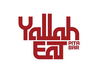 Yallah Eat Pita Bar design branding typogaphy food bar menu logo red restaurant