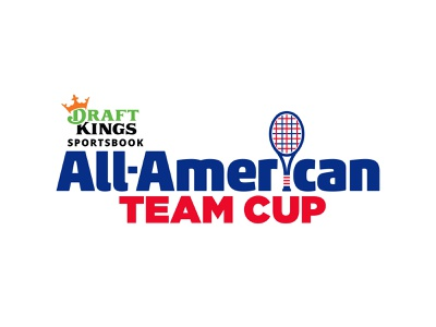 Draft Kings All American Team Cup logo branding college flag american red blue tennis ball sports tennis