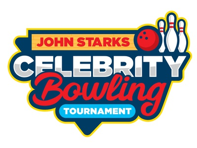 Join Starks Celebrity Bowling Tournament celebrity red blue branding logo pins sports bowling