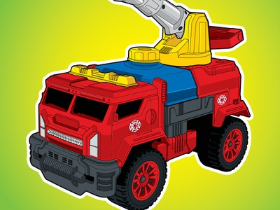 Toy Truck Illustration illustrator toy store red toy design truck toys