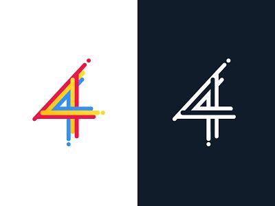 Number 4 logo colorful design breakpoint line four branding design typography flat boat number 4 logo color colorfull color4 colorful