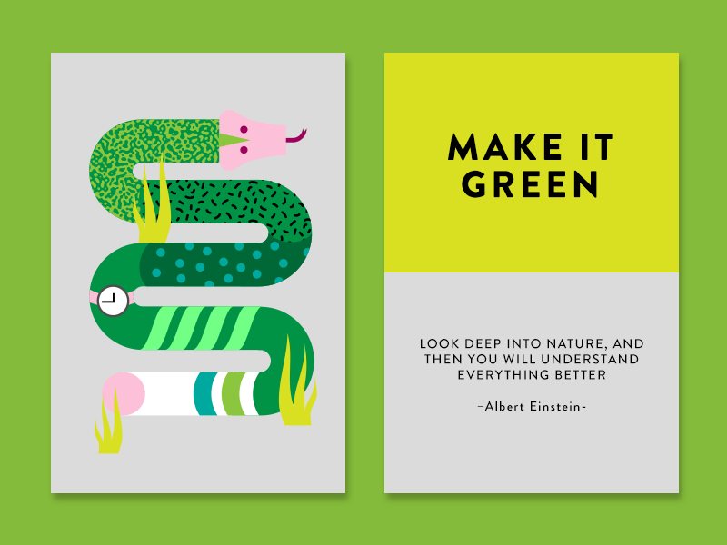 Make it Green cards creativity technique creativity albert einstein quote inspiration nature snake green