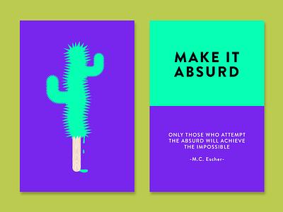 Make it Absurd creativity technique cards escher inspiration color absurd cactus creativity