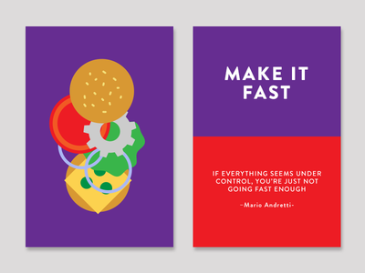 Make it Fast cards creativity technique fast food fast geometric burger color creativity quote inspiration