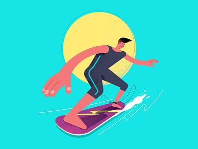 Surfing Character man sea surfing freelance illustrator character adventurous vector illustration digital art