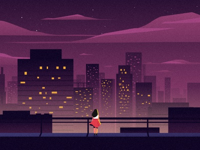 The dreaming girl motion graphics girl background night city city scape