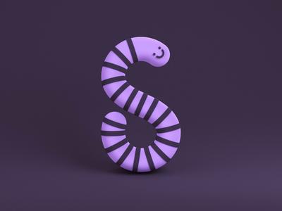 Snakey Letter S letter s typedesign 36daysoftype07 36daysoftype boi snek squishy smiley smile snake typography c4d minimal simple octane cinema 4d cinema4d 3d loop animation