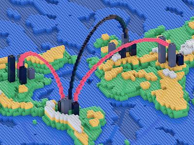 World of bricks earth map lego bricks c4d animation 3d octane cinema 4d cinema4d