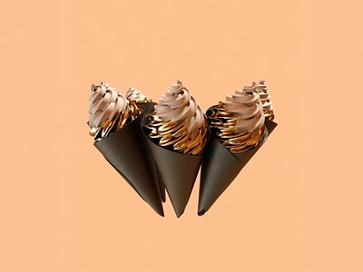 Golden Ice Cream Cone cone golden gold animation icecream ice food cinema 4d octanerender octane 3d cinema4d