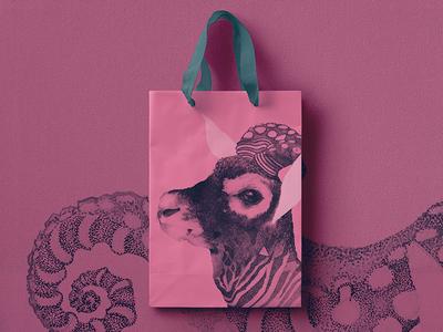 OctoBuck Antilope octopus deer illustration ink print paper shopping-bag antilope