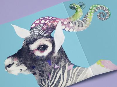 OctoBuck Antilope animal lovely deer octopus colorful paper cardboard card illustration ink buck antilope