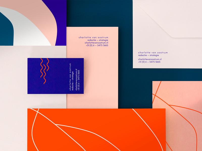 Brand identity for Charlotte van Oostrum minimal business card envelope identity branding vector print illustration typography