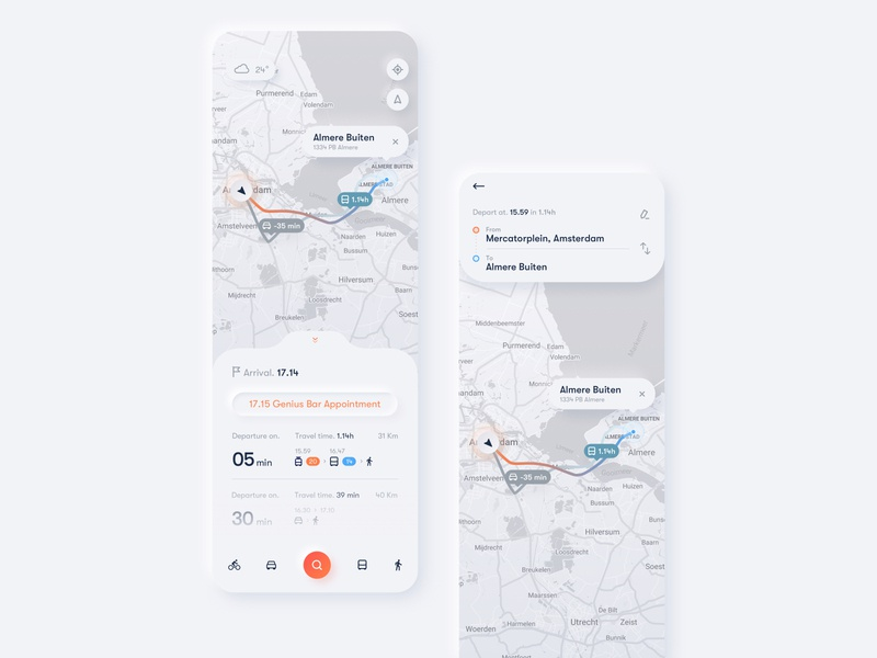 Trip Planner App trip planner softui neumorphism neumorphic travel app interaction design journey map map app ux ui design