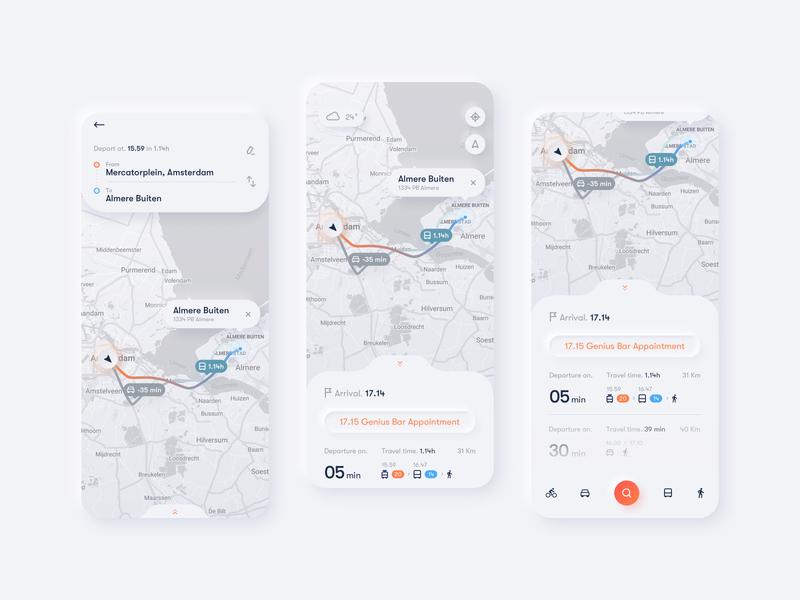 Trip Planner App journey map trip planner map interaction ui design softui neumorphism neumorphic minimal app design ux ui