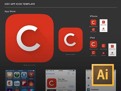 iOS7 App Icon Template (.AI) freebie free ai illustrator ios7 app icon vector template cs6 psddd