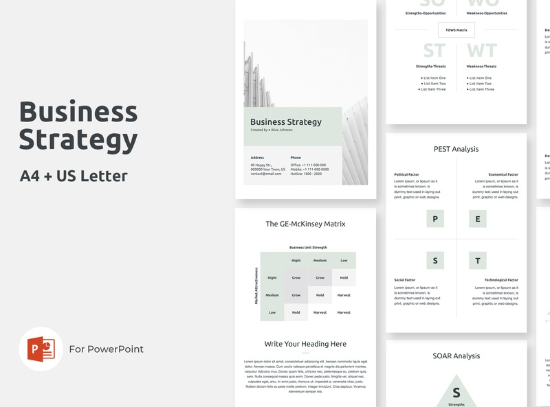 Vertical Business Strategy Presentation Template minimal creative print design office corporate table graphic chart matrix model proposal objectives goal strategic strategy business us letter a4 vertical