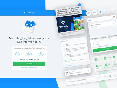 FanDuel Fantasy - Referrals ux design digital product design product marketing join invitation fanduel fantasy sports sport interface design user experience ux  ui share invite referrals referral abstract sketchapp web product design