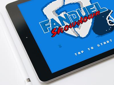 FanDuel lite - pixel game - splash screen start arcade nfl branding interface product design ux gamify illustration logo design game pixel art logo ui games tablet ipad fantasy sports sports ux design