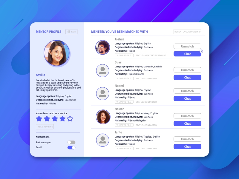 Daily UI Challenge 006 - User Profile university user account user user interface design user interface daily ui challenge daily ui 006 daily ui dailyui006 dailyui review connect mentors chat bio profile user profile tablet 006