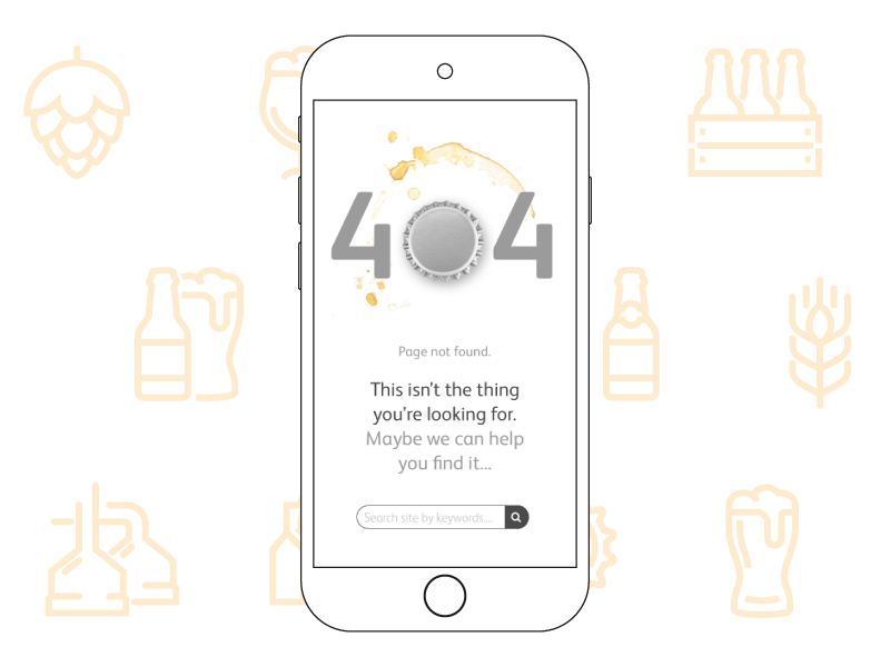 Daily UI Challenge 008 - 404 Page not found user interface design mobile brewing company brewing beer user interface challenge daily ui challenge daily ui 008 dailyui008 daily ui dailyui page not found 404 error page 404 page 404 008