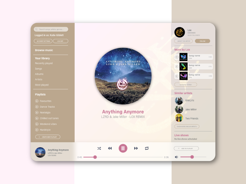 Daily UI Challenge 009 - Music Player music app tablet user interface interface design playing music daily ui challenge daily ui 009 daily ui dailyui009 dailyui music player ui music player 009