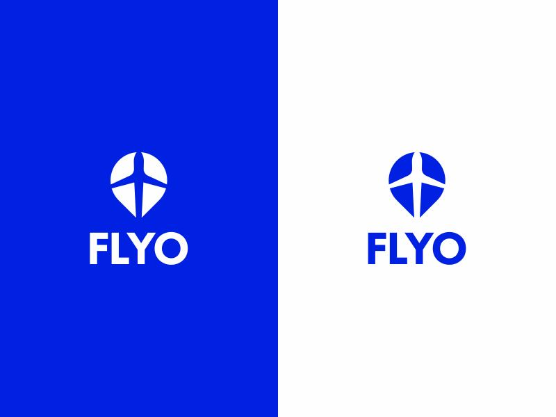 Flyo pin travelling travel fly logo airplane