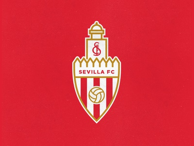 Sevilla FC league europa football club monogram sports stripes shield sfc tradition castle family crest soccer futbol fc sevilla fc sevilla seville spain badge