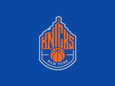 New York Knicks skyline buildings city sports rebrand nyc logo basketball nba new york nyk knicks manhattan