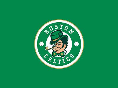 Boston Celtics face crest badge typography logo ireland green st patricks leprechaun sports roundel clover luck irish baskteball nba rebrand celtics boston