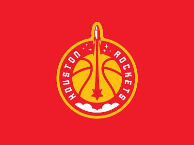 Houston Rockets houston planet moon stars ball launch nasa space smoke badge roundel logo basketball rebrand nba rocket star htx texas rockets