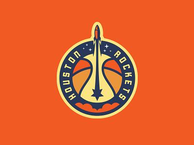 Houston Rockets, Alt rockets texas htx star rocket nba rebrand basketball logo roundel badge smoke space nasa launch ball stars moon planet houston
