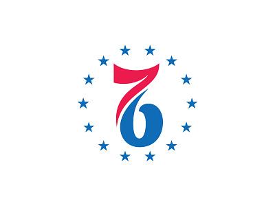 Philadelphia 76ers, Alt sixers 76 76ers phila philly philadelphia stars nba rebrand logo basketball roundel badge circle type numbers custom typography script allen iverson