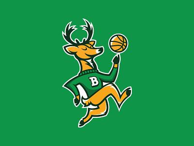 Milwaukee Bucks running jumping antlers bango smile happy illustration logo sports basketball animal buck deer mascot rebrand nba wisconsin milwaukee bucks