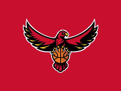Atlanta Hawks illustration sports mascot league georgia branding logo nba basketball bird rebrand atl atlanta hawks