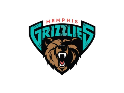 Memphis Grizzlies illustration logo mascot grizzly fierce roar animal basketball tennessee bear sports nba rebrand memphis grizzlies