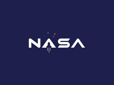 NASA astronaut orbit earth america usa moon design stars rocket type logo rebrand galaxy space nasa