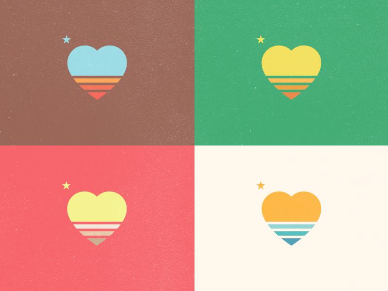 California Love heart bliss clean simple fresh creative logos waves water ocean sun star westcoast socal ca love california cali