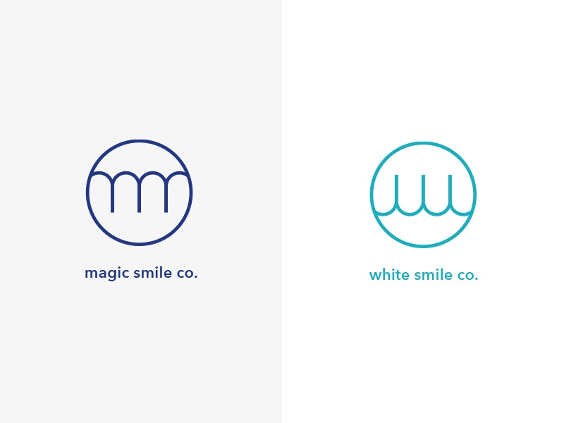 Complete Smile Co. identity branding dental tooth clean sophisticated simple circle logo orthodontist teeth whitening magic dentist smile w emblem monogram