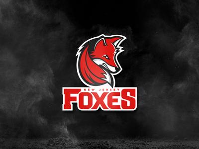 New Jersey Foxes fox tail face red identity lockup milb red fox animal logotype wordmark branding logos sports foxes fox mlb baseball jersey new jersey nj